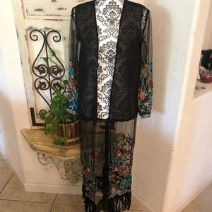 Long sheer kimono with embroidered detail